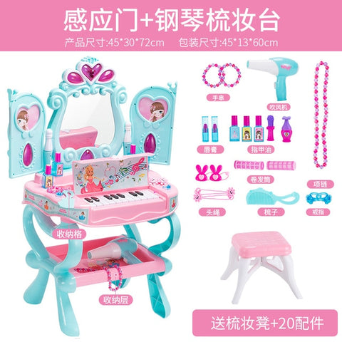 Image of Girl Baby Makeup Table Toy Children Simulated Dressing Mirror 3-6 Years Old Girl Princess Home