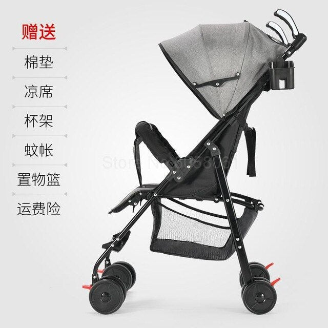 Pram can sit down, lie, baby, big, foldable baby, simple shock absorber, trolley, pocket umbrella