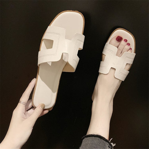Image of Flat Sandals Summer Women's Slippers Leather Comfortable Sole Cross Weave 8 Colors Woman Shoes Color Imitation deerskin upper