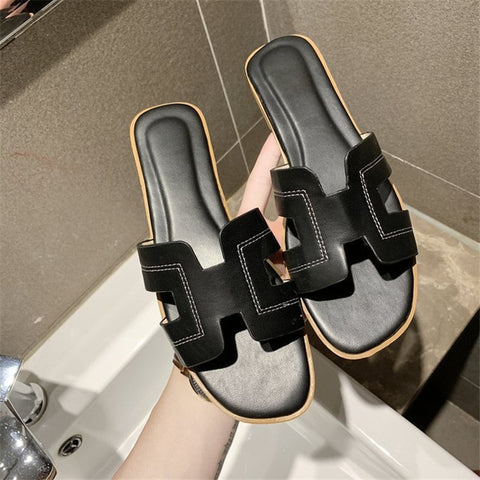 Flat Sandals Summer Women's Slippers Leather Comfortable Sole Cross Weave 8 Colors Woman Shoes Color Imitation deerskin upper