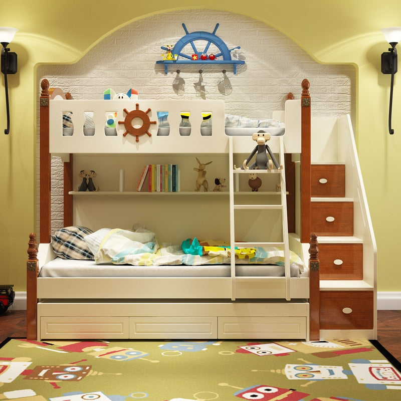 Special Offer Children Bed Double Bed Mediterranean Level Bed Cluster Youth Solid Wood Furniture Factory Direct Sales