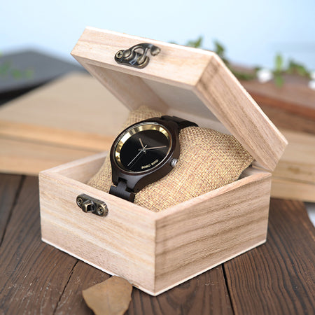 Image of BOBO BIRD WP16 Wood Women Watch at 4 o'clock Slant LOGO Wooden Band Exquisite Quartz Watches ladies Timepieces relogio feminino