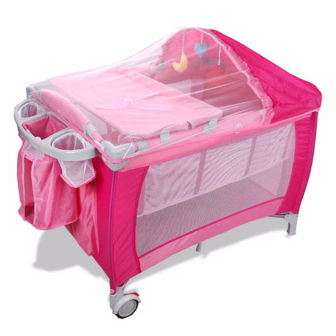Image of Goplus Portable Folding Baby Crib Multifunctional Child Bed Pink Blue Playpen Baby Cradle Bed with Mosquito Net and Bag BB0446