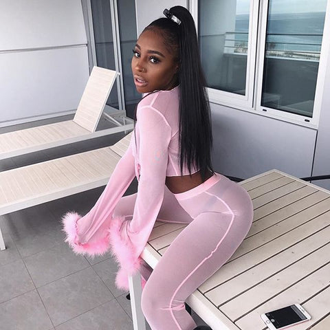 Image of Tumblr Sexy See Through Pink Mesh Tracksuits Autumn Women Costume Two Piece Set Long Sleeve Fluffy Crop Top And Pants Streetwear