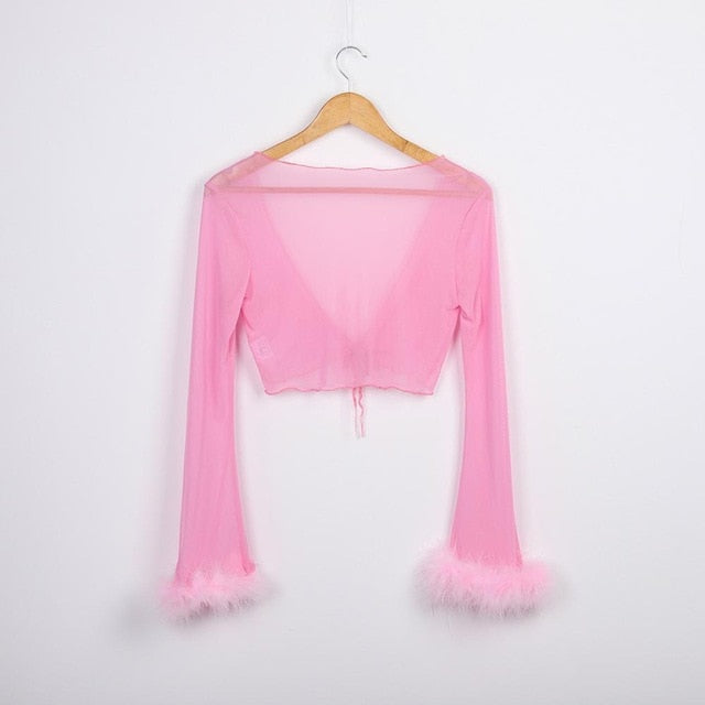 Tumblr Sexy See Through Pink Mesh Tracksuits Autumn Women Costume Two Piece Set Long Sleeve Fluffy Crop Top And Pants Streetwear
