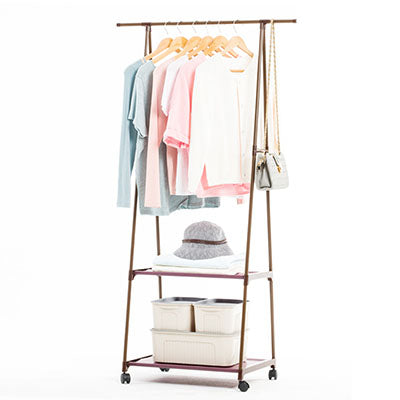 Image of Multi-function Triangle Coat Rack Removable Bedroom Hanging Clothes Rack With Wheels Floor Standing Coat Rack Clothes Hanger
