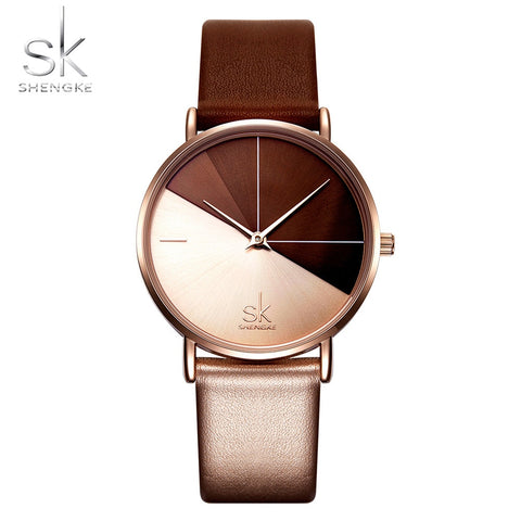 Image of Shengke Women's Watches Fashion Leather Wrist Watch Vintage Ladies