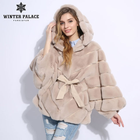 Image of 2018 Winter fur coat Fashion new rabblt fur coat Casual rex rabblt fur coat Solid real rex rabblt fur coat O-Neck WINTER PALACE