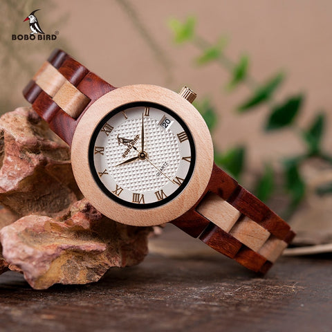 Image of BOBO BIRD Two-tone Wooden Watch Women Top Luxury Brand Timepieces Quartz Wrist Watches in Wood Box