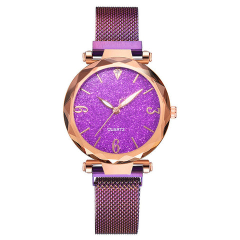 Image of Rose Gold Women Watch 2019 Top Brand Luxury Magnetic Starry Sky Lady Wrist Watch Mesh Female Clock