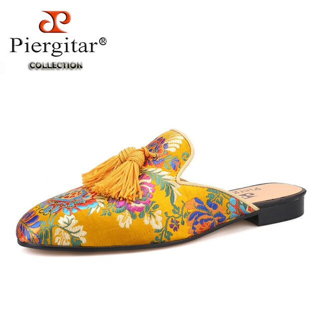 Piergitar gold-toned multi colors jacquard silk Men Mules with matching fringed tassels handcrafted men's slippers plus size