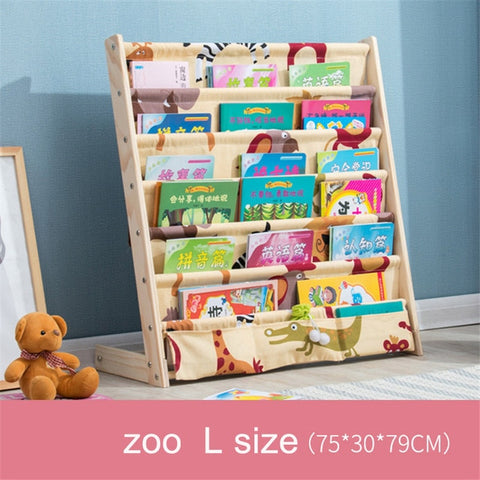 Image of solid wood bookcase easy install book shelf  kid's picture book rack living room  home office furniture toy shelf