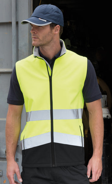 Result Safe-Guard Hi Vis Softshell Bodywarmer Jacket (R451X)