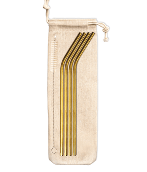 Load image into Gallery viewer, Reuseable Gold Straws (4 Pack) - Wilder The Label
