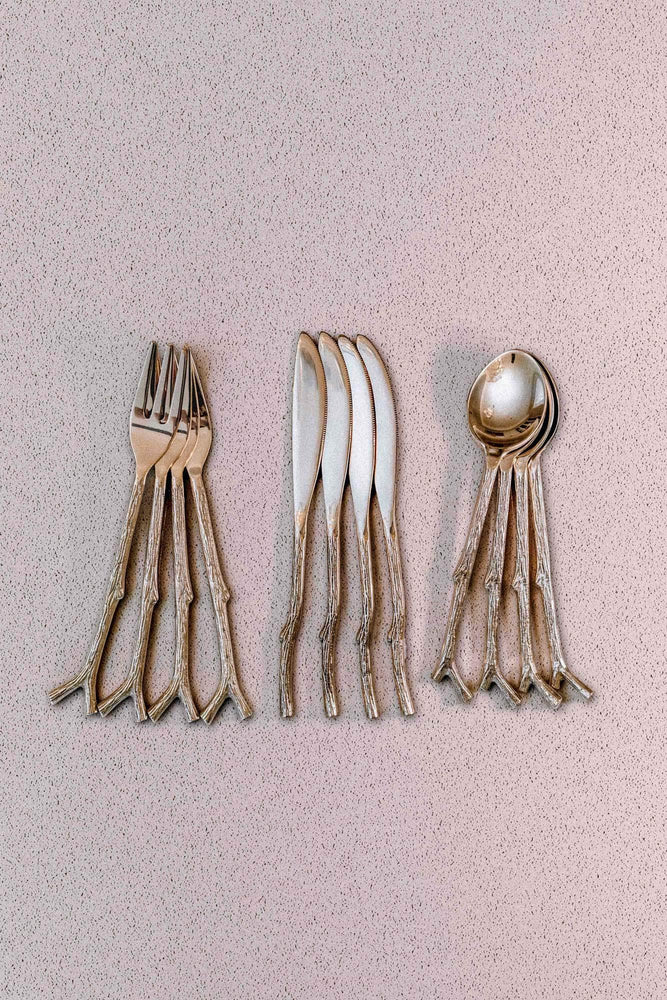 Load image into Gallery viewer, 4 Set - Brass Twig Motif Cutlery - Wilder The Label