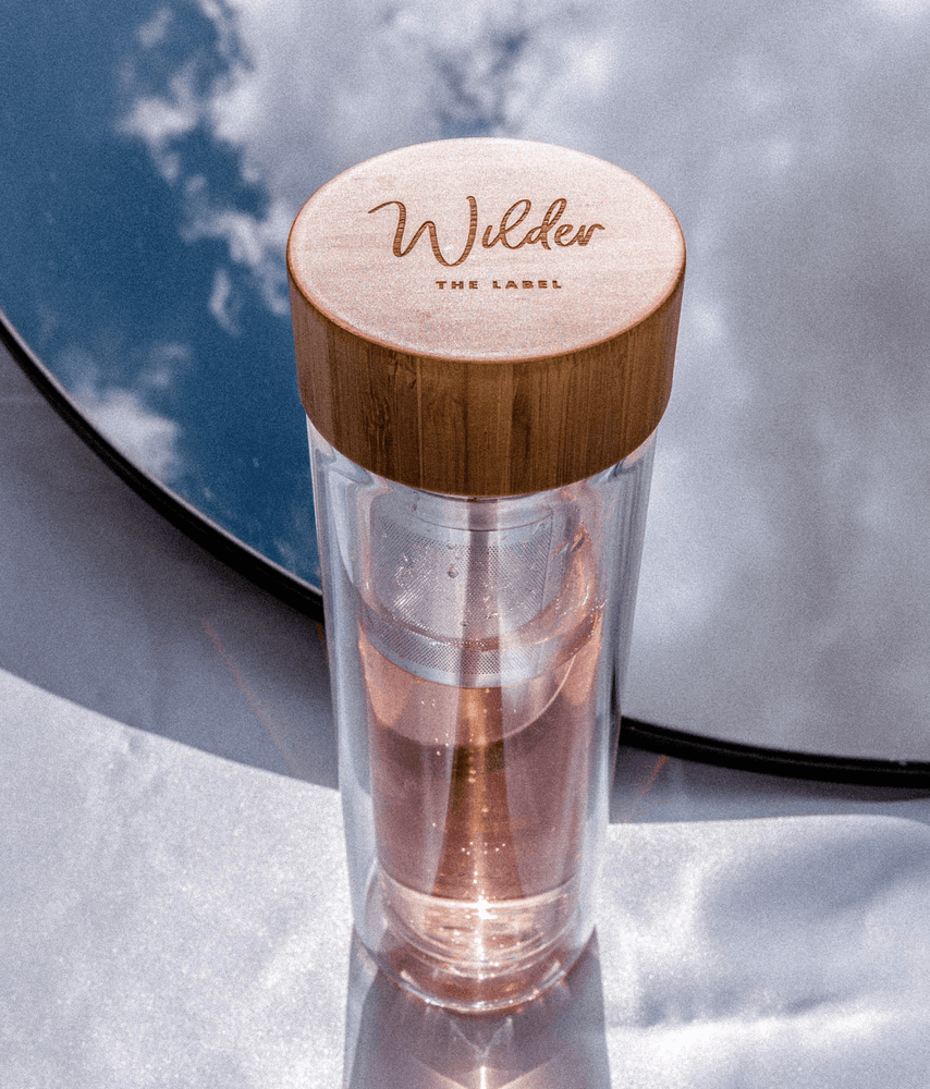 Glass Tea Infuser & Drink Bottle with Bamboo Lid - Wilder The Label