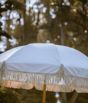 XL Shell-White Tassled Umbrella