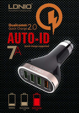 LDNIO 4 Ports 2.0 Quick Charge 7A Car Charger (Black)