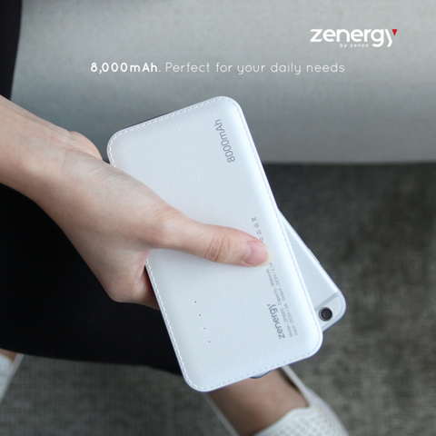 Zenergy Pocket Series Slim Compact Fast Charging 8000mAH Powerbank (1 year Warranty)
