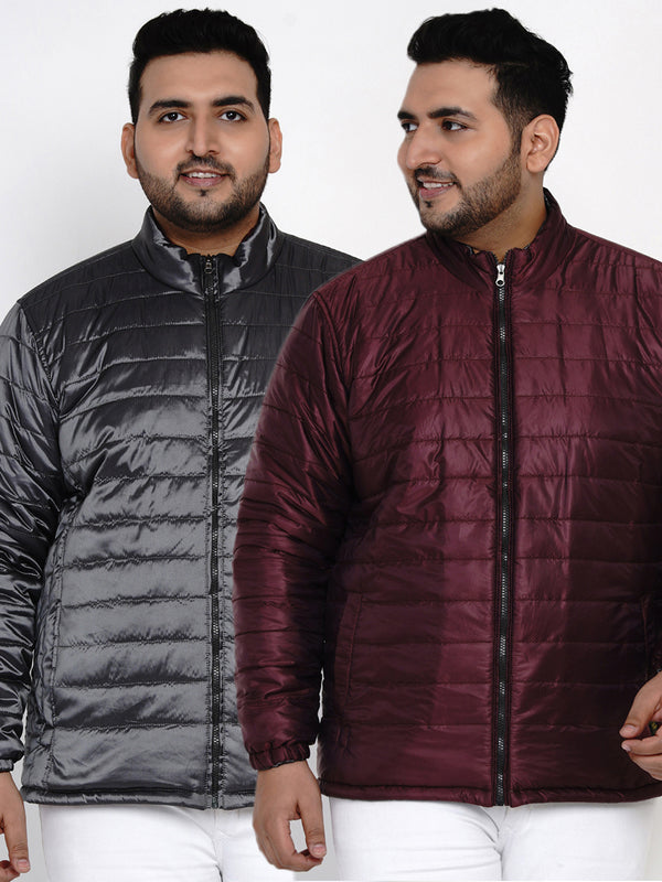 METALLIC MAROON REVERSIBLE JACKET-7387