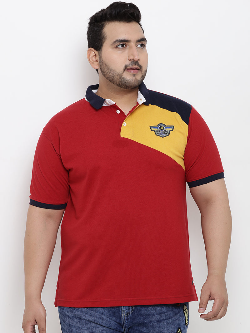 Color Blocked Red Polo T-Shirt- 3167B