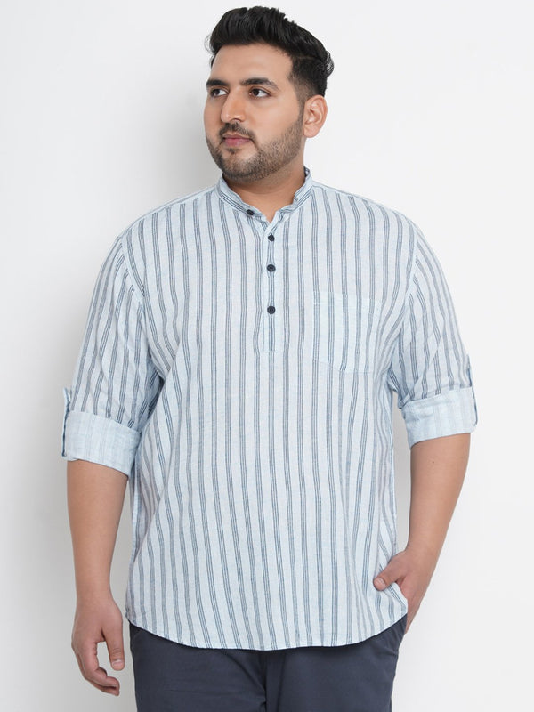 Alice Blue Striped Linen Kurta Shirt- 4223A