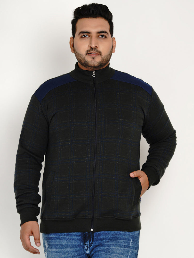 OLIVE CHECK COTTON SWEATSHIRT - 7608