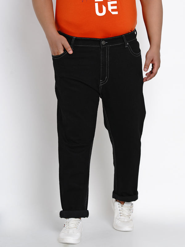 BLACK STRETCHABLE JEANS WITH THICK STITCHING DETAILS - 2501