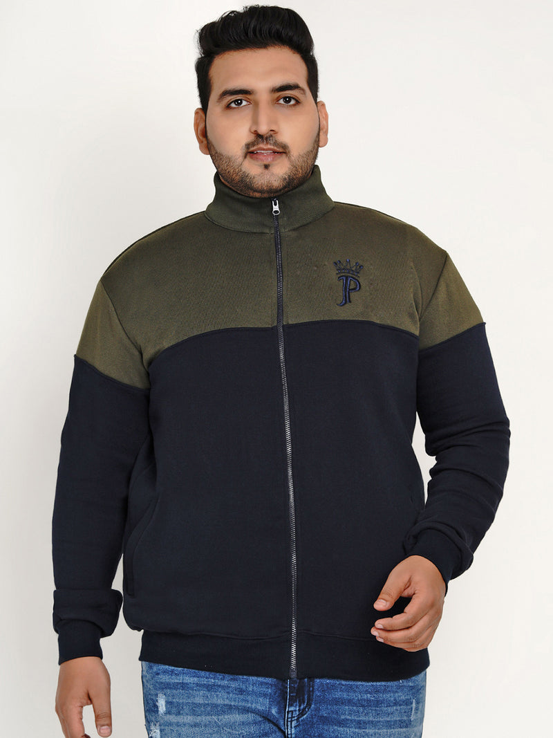 OLIVE AND NAVY BLUE COMFORT SWEATSHIRT - 7594