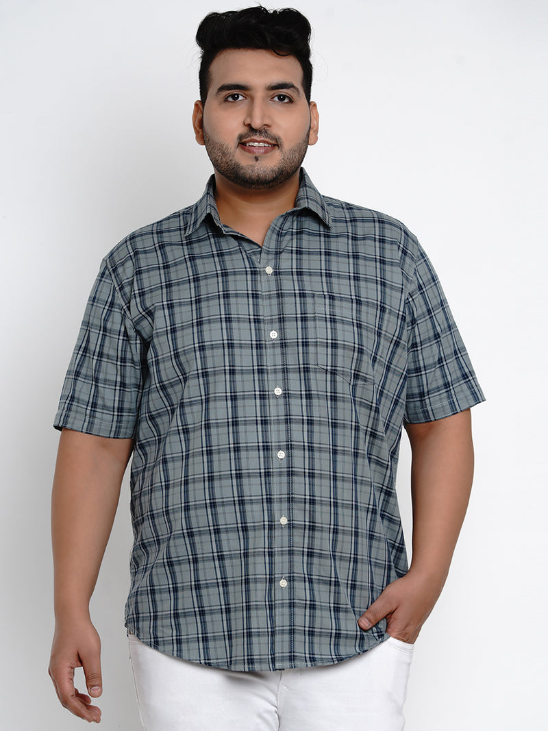 Grey Tartan Check Cotton Shirt - 102