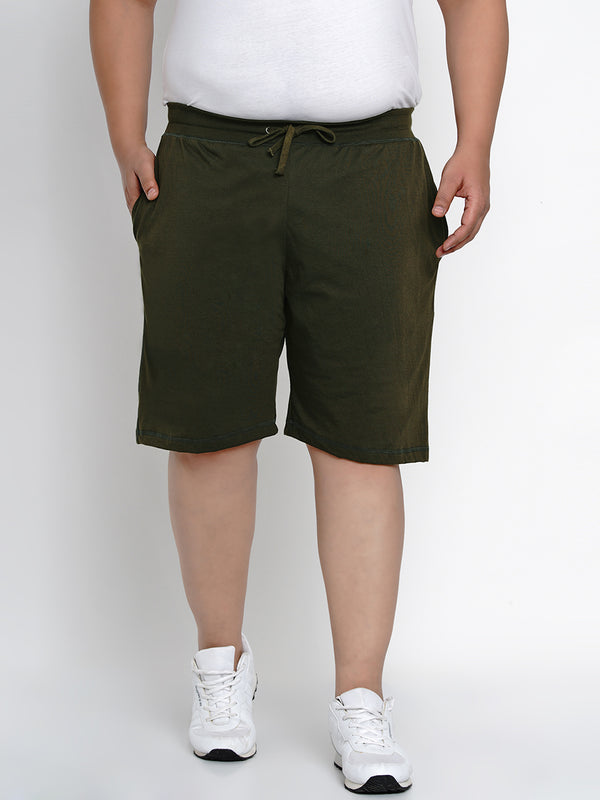 OLIVE REGULAR FIT HOSIERY SHORTS - 6666