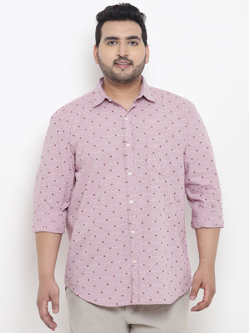 Piggy Pink Printed Full Sleeve Shirt- 4147