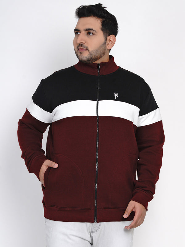 BURGUNDY COLOURBLOCKED SWEATSHIRT - 7621