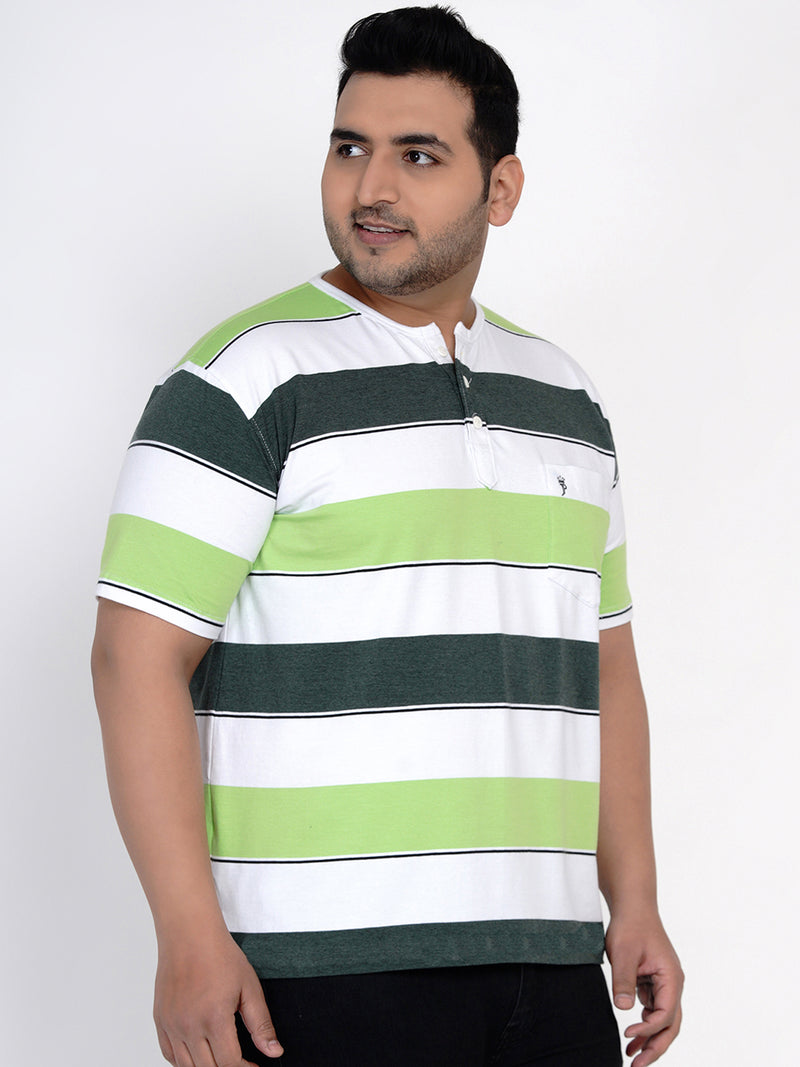 WHITE COLOUR CONTRAST STRIPED TEE - 381