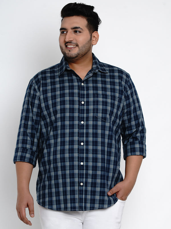 Navy Blue Tartan Check Cotton Shirt - 438