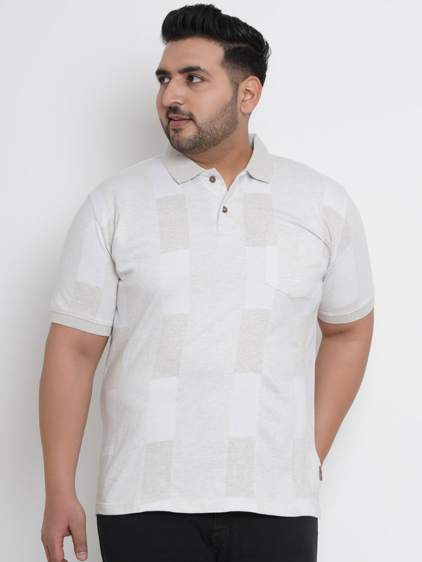CASUAL CREAMY HALF SLEEVES POLO T-SHIRT - 3259A