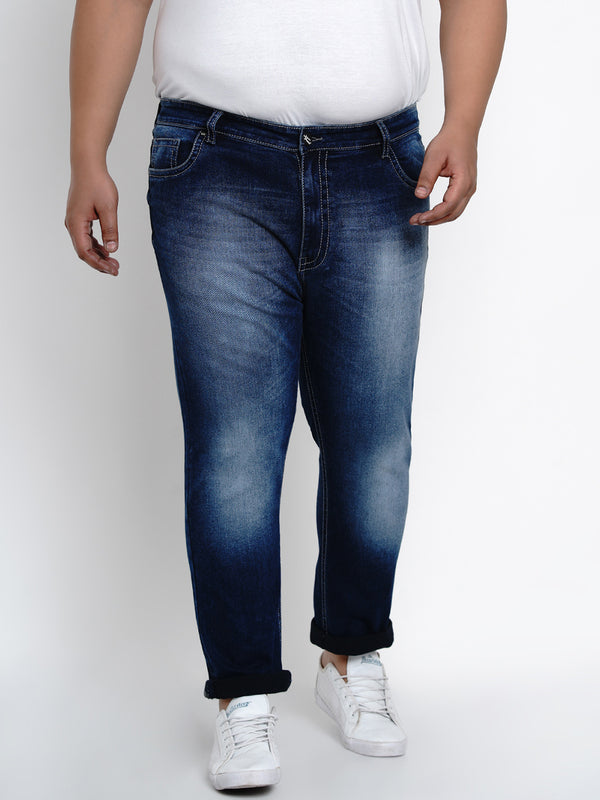 PRUSSIAN BLUE STRETCHABLE JEANS WITH THICK STITCHING DETAILS - 2503