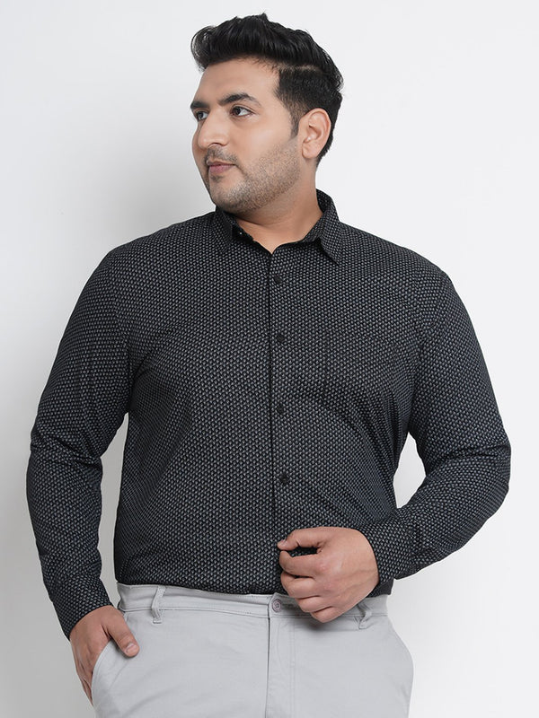 Sable Black  Printed Formal Shirt- 4227B