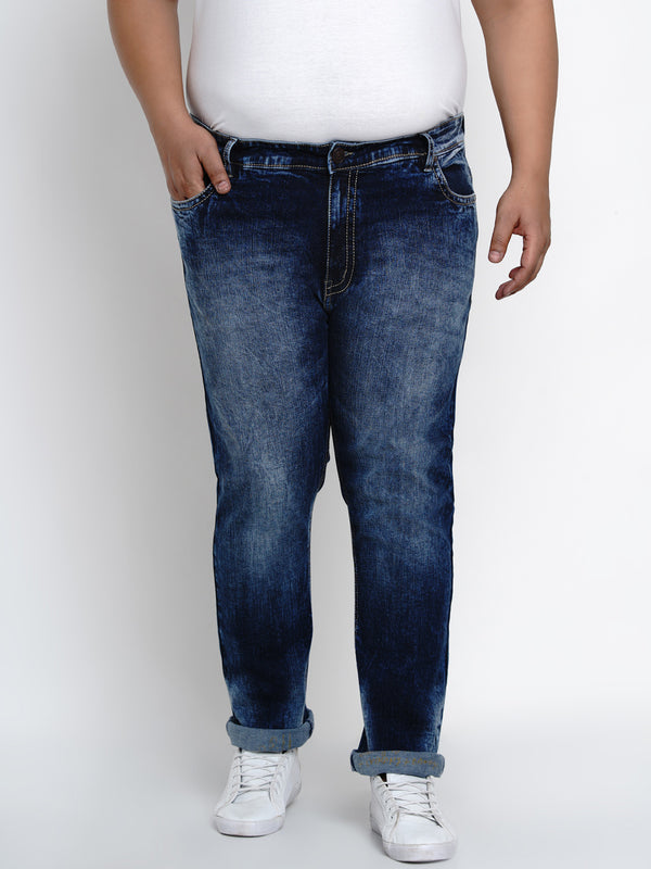 SAPPHIRE BLUE STRETCHABLE JEANS WITH THICK STITCHING DETAILS - 2505