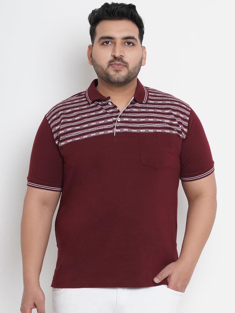 WINEY MAROON WHITE STRIPES POLO TEES - 3258A