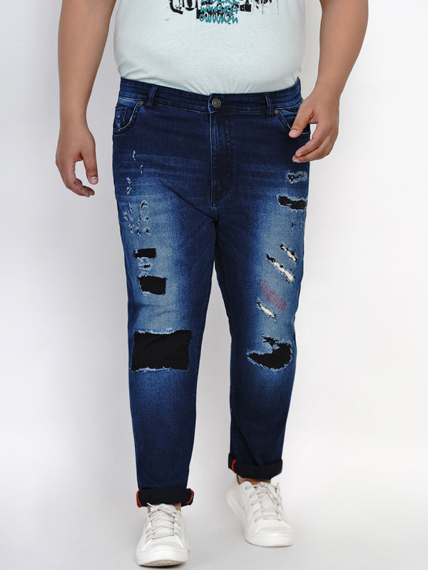 DARK BLUE RIPPED JEANS-6006