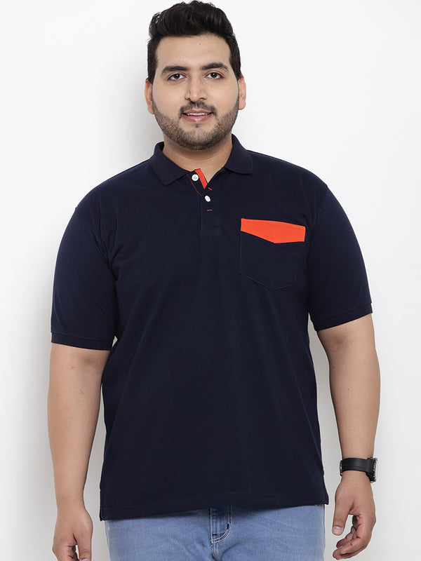 Unassuming Navy Blue Polo T-Shirt- 3169A