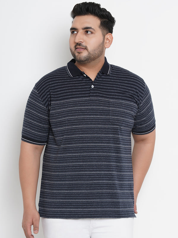 FASHIONABLE NAVY BLUE STRETCHABLE STRIPED POLO - 3255B