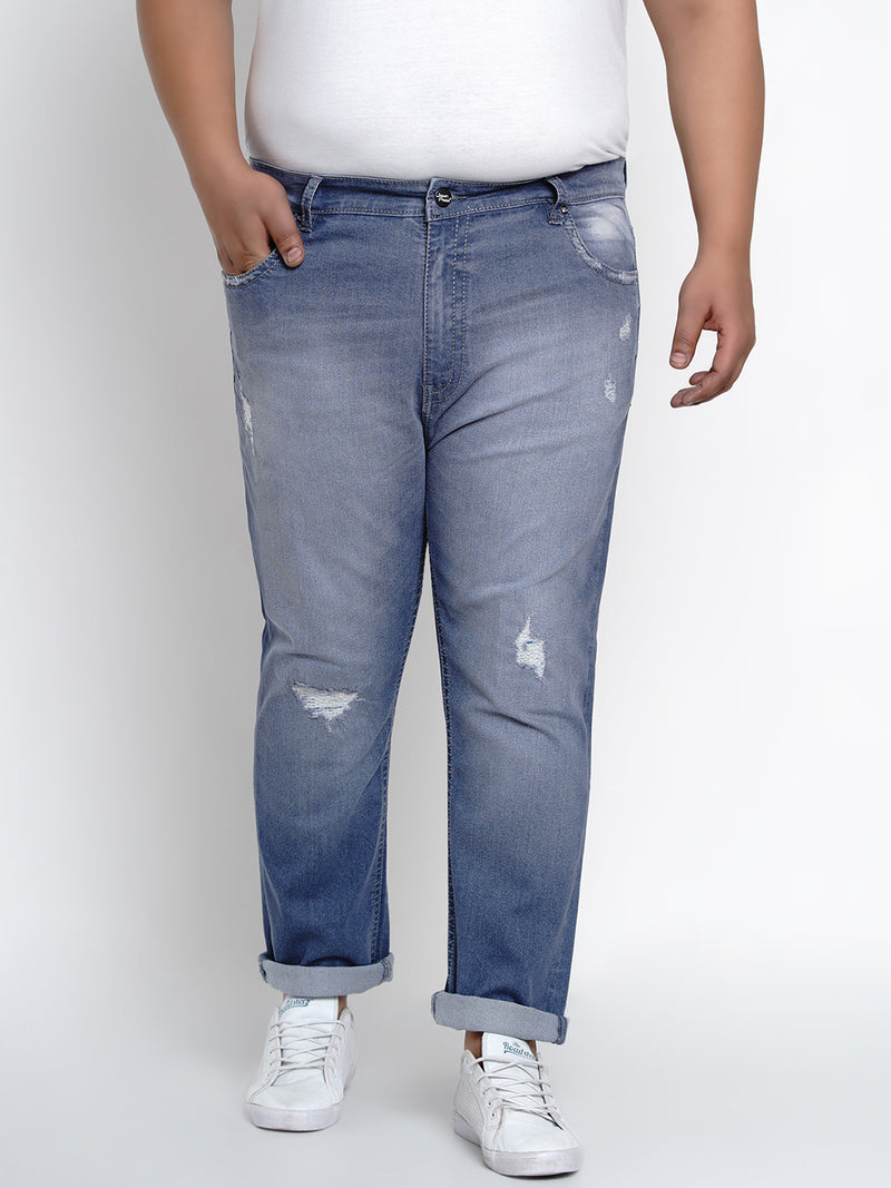 Olympic Blue Stretchable Jeans With Thick Stitching Details - 2005