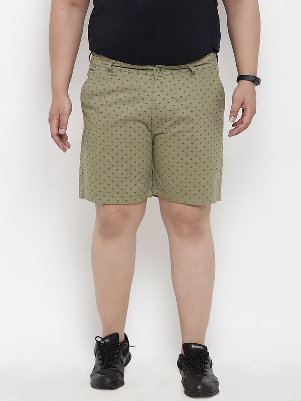 Green Printed Cotton Shorts- 6614A