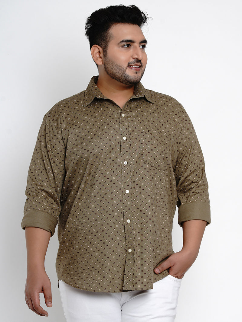 Olive 'Textured' Print Cotton Shirt - 436