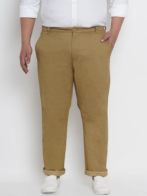 GEOMETRIC PATTERN STRETCHABLE KHAKI TROUSER - 2160B