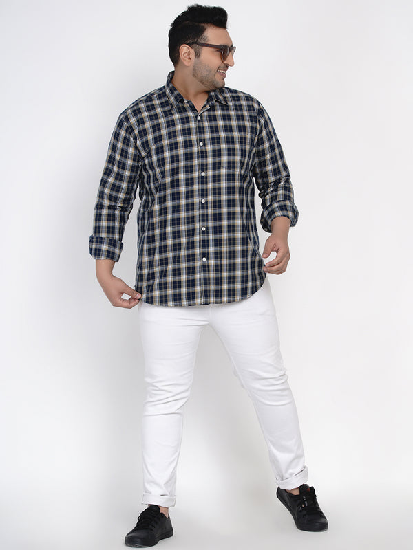 NAVY BLUE CHECKED SHIRT - 4259A