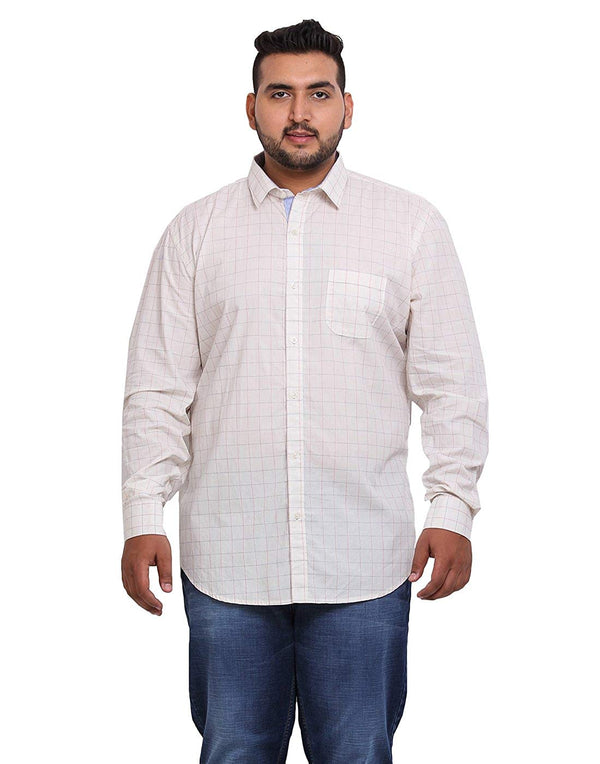 John Pride Men's White Checked Shirt- 2159