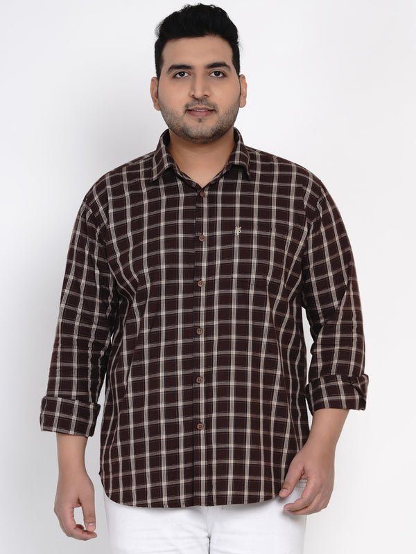 COFFEE BROWN CHECKED SHIRT - 4258B
